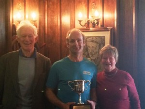 1 - Maurice & Moira Ahern present Brendan Donnelly with the 2014 Dylan Ahern Memorial 5k Steeplechase trophy